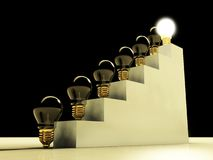 Glowing light bulb on stairs, success and career Stock Photos