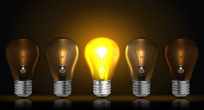 Glowing light bulb vector Royalty Free Stock Photography