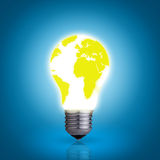 Light bulb with world map stock image
