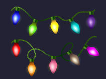 Glowing light bulbs design. Vector banners set. Website header template. Glowing light bulbs garlands on dark background. Vector  set Royalty Free Stock Photography