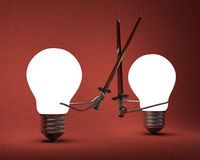 Glowing light bulbs fighting with greatswords on red Royalty Free Stock Photos