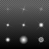 Glowing light. Burst explosion with transparent. Stars with sparkles. Vector illustration Stock Images