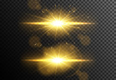 Glowing light effects collection isolated on transparent background. Vector gold lens flares Stock Photos