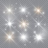 Glowing light explodes on a transparent background. Sparkling magical dust particles. Bright Star. Vector illustration. royalty free illustration