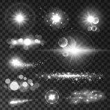 Glowing light flashes. Sparkling stars, sun beams Royalty Free Stock Photo