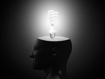 Glowing Light in Head Royalty Free Stock Photo