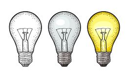 Glowing light incandescent bulb. Vector vintage engraving on white background. Glowing light incandescent bulb. Vector vintage color engraving illustration on Stock Images