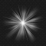 Glowing light transparent burst. Vector sunlight background with ray sparkles. Stock Photo