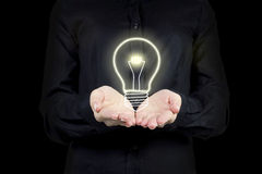 Glowing lightbulb Stock Photos