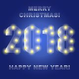 2018 glowing lights on a blue background. Merry Christmas. Happy. New year. Design greeting cards, banner Royalty Free Stock Photo