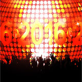 2016 glowing lights and crowd. New Year Party 2016 with Glowing Disco Ball and Crowd Stock Image