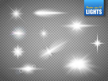 Glowing lights effect, flare, explosion and stars. Special effect isolated Stock Images