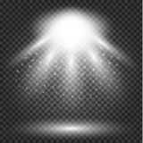 Glowing lights effect, flare, explosion and stars. royalty free illustration