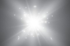 Glowing lights effect, flare, explosion and stars. Special effect isolated on transparent background. Glowing lights effect, flare, sun and stars. Stock vector Stock Images