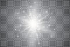 Glowing lights effect, flare, explosion and stars. Special effect isolated on transparent background. Glowing lights effect, flare, sun and stars. Stock vector Royalty Free Stock Image