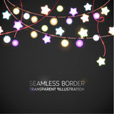 Glowing Lights Garland Illustration. Garland is seamless border. Holiday Background. Realistic luminous garland Background. Garlan. D is seamless border Stock Photos