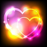 Glowing Lights Hearts Background Illustration Stock Photos