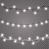Glowing lights for holidays. Transparent glowing garland. White glowing lights for greeting card design. Garlands. Christmas decorations. EPS 10 Royalty Free Stock Image