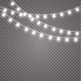 Glowing lights for holidays. Transparent glowing garland. White glowing lights for greeting card design. Garlands. Christmas decorations. EPS 10 Stock Photo