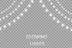 Glowing lights for holidays. Transparent glowing garland. White glowing lights for greeting card design. Garlands. Christmas decorations. EPS 10 Royalty Free Stock Photography