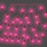 Glowing lights for holidays. Transparent shiny garland. Red glowing lights for greeting card design. Garlands, Christmas decorations Royalty Free Stock Image