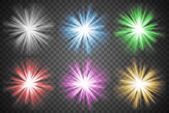 Glowing lights set. Colorful transparent bursts Royalty Free Stock Photos