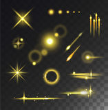 Glowing lights stars glare and glow isolated vector on black transparent background. Stock Photos