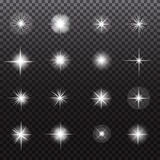 Glowing lights and stars on transparent background Stock Images