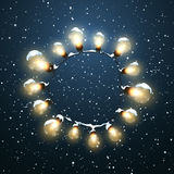 Glowing Lights. Vector Holiday Illustration of Luminous Electric  Wreath Royalty Free Stock Image