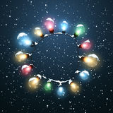 Glowing Lights. Vector Holiday Illustration of Luminous Electric  Wreath Royalty Free Stock Images