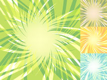 Glowing low poly burst backgrounds. Abstract explosion grounds set. Vector illustration for decoration with polygonal rays. Templa Stock Image
