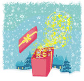 Glowing magic gift box Royalty Free Stock Photography