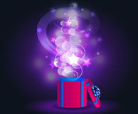 Glowing magic lights. VECTOR present box Royalty Free Stock Image