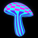 Glowing magic mushroom 3d Stock Photography