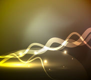 Glowing magic wave line with light effects in darkness. Vector illustration Royalty Free Stock Images