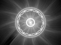 Glowing mandala intensity map. Glowing magical mandala fractal, computer generated abstract intensity map Royalty Free Stock Images