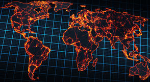 Glowing map of world Stock Images