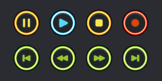 Glowing media buttons Stock Images