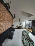 Glowing modern style bedroom Stock Photo