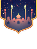 Glowing mosque and stars Islamic background Stock Photography