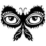 Glowing Moth Tattoo Design. A black and white tattoo design of a glowing moth with two large eye spots Royalty Free Stock Photos