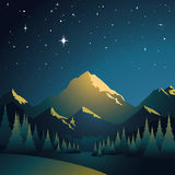 Glowing Mountains. Pole star and the big mountains Stock Photo