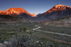 Glowing mountains. Spring sunrise in the Sierra Nevada mountains Stock Images