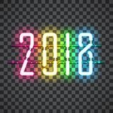 Glowing Multi color Neon sign 2018. On transparent background with wires, tubes, brackets and holders. Vector element for New Year card, logo or other design Royalty Free Stock Images