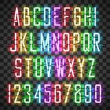 Glowing Multi Colors Neon Casual Script Font Royalty Free Stock Images
