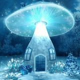 Glowing mushroom house Royalty Free Stock Photo