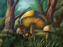 Glowing Mushrooms Stock Image