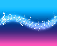 Glowing Music Notes. On vibrant background royalty free illustration