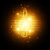Glowing musical symbols Royalty Free Stock Image