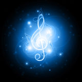 Glowing musical symbols Stock Image